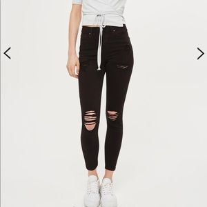 Topshop Jamie high waisted distressed ankle jeans